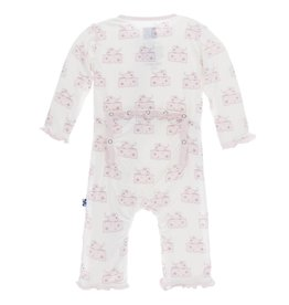 Print Muffin Ruffle Coverall w Snaps (Nat. Mouse & Cheese)
