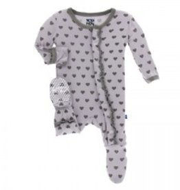 Kickee Pants Print Muffin Ruffle Footie with Snaps (Feather Hearts)