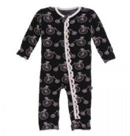 Kickee Pants Print Muffin Ruffle Coverall w Zipper (Girl Midnight Bikes)