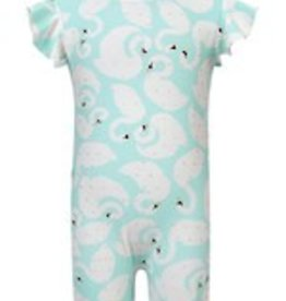 Snapper Rock International Mint Gold Swan Flutter Sleeve Sunsuit
