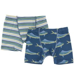 Kickee Pants Boxer Briefs Set (Perth Stripe & Twilight Dolphin Fish)