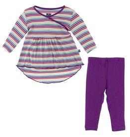 Kickee Pants Hi Lo Tee & Legging Outfit Set Girl Perth Stripe