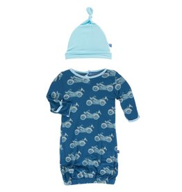 Kickee Pants Layette Gown & Knot Hat Heritage Blue Motorcycle, 0/3M