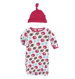 Kickee Pants Layette Gown & Knot Hat Nat. Sports, 0/3M