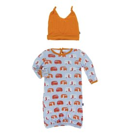 Kickee Pants Layette Gown & Knot Hat Pond Camper, 0/3M