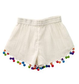 Masala Baby Multi Color Pom Pom Ivory Shorts