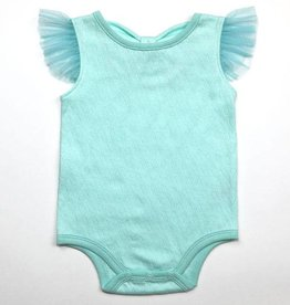 Kapital K Aqua Hearts Pointelle 3D Bow-Back Bodysuit