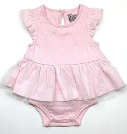 Kapital K Pink Hearts Pointelle 2-in-1 Dress Bodysuit