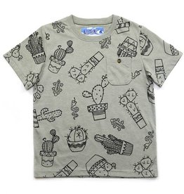 Kapital K Cactus Printed Heathered Jersey Pocket Tee