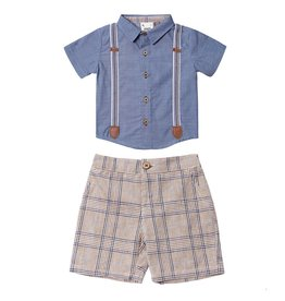 Fore!! Axel & Hudson S/S Navy Scottish Plaid Caddle Set & Bow Tie