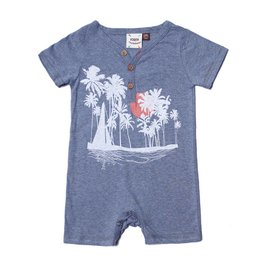 Fore!! Axel & Hudson S/S Sailboat, Sunset, Palm Screen Print Romper