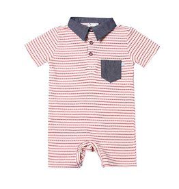 Fore!! Axel & Hudson S/S Red Licorice Bamboo Stripe Knit Jersey Polo Romper