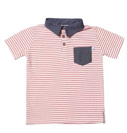 Fore!! Axel & Hudson S/S Red Licorice Bamboo Stripe Knit Jersey Polo