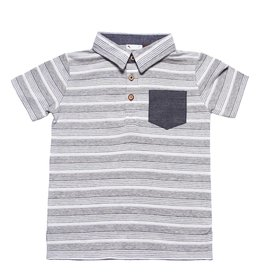 Fore!! Axel & Hudson S/S Heather Grey Textured Jersey Knit Stripe Polo