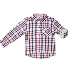 Fore!! Axel & Hudson L/S Navy/ Red Plaid/ Polka Dot Double Faced Roll Shirt