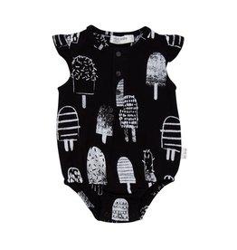 Miles Baby Black Flutter Sleeve Onesie White Popsicle Print