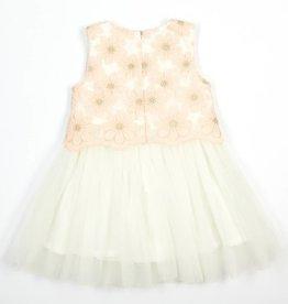 Doe A Dear Pink Daisy Lace Overlay Dress w/Tulle Skirt