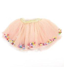 Doe A Dear Peach Glitter Waistband Tulle w/Poms Skirt
