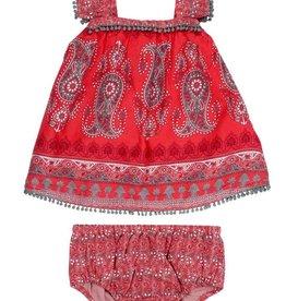 Mimi & Maggie Bohemian Paisley Dress Red