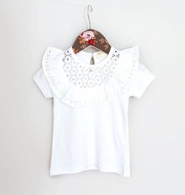 MaeLi Rose Eyelet Ruffle Top White