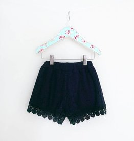 MaeLi Rose All Over Lace Shorts Navy