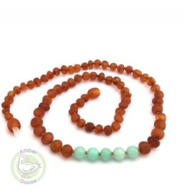 Momma Goose Products Ltd Amber Necklace Raw Cognac & Amazonite