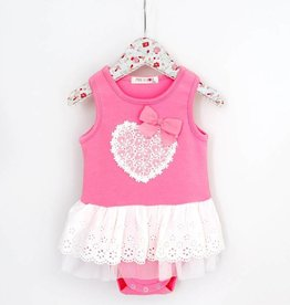 MaeLi Rose Heart Patch Onesie Hot Pink