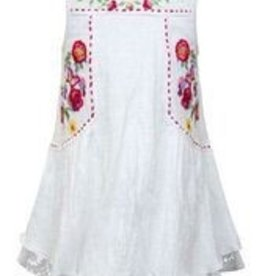 Truly Me White w/ Multi Embroidered Flowers Dress