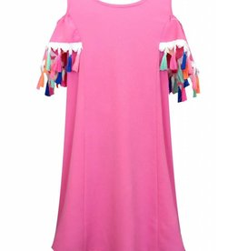 Truly Me Pink Cold Shoulder Dress w/ Multi Tassels