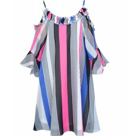 Truly Me White Multi Vertical Stripe Dress