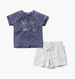 Splendid Indigo Sky Palm Tree Tee & Short Set