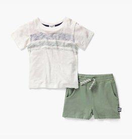 Splendid Stripe White Top & Olive Short Set