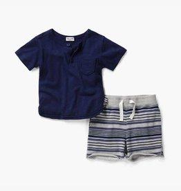 Splendid Indigo Sky Pocket Tee & Stripe Short Set
