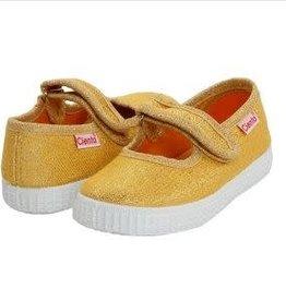 Cientas Gold Sparkly Velcro Strap Shoe