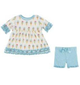 Kickee Pants Babydoll Outfit Nat. Ice Cream
