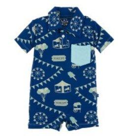 Kickee Pants Polo Romper w/ Pocket Flag Blue Carnival