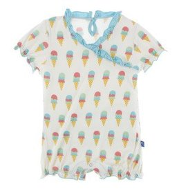 Kickee Pants Ruff. Romper Nat. Ice Cream