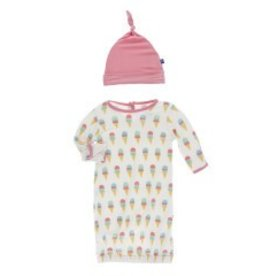 Kickee Pants Layette Gown & Knot Hat Nat. Ice Cream