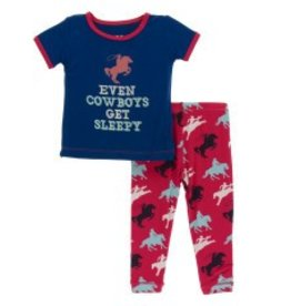 Kickee Pants S/S PJ Pant Set Flag Red Cowboy