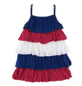 Kickee Pants Tiered Ruff. Dress Flag Red, Nat, Flag Blue