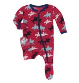 Kickee Pants Zip Footie Flag Red Cowboy