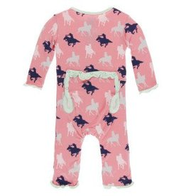 Kickee Pants Muff. Ruff. Zip Coverall Strawberry Cowgirl