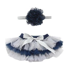 Mila & Rose Team Colors Navy & Gray Tutu & Headband Set