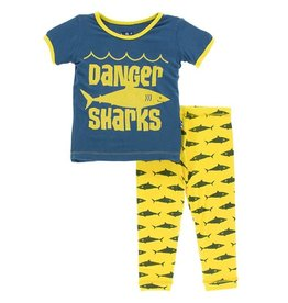 Kickee Pants S/S PJ Short Set Lemon Shark