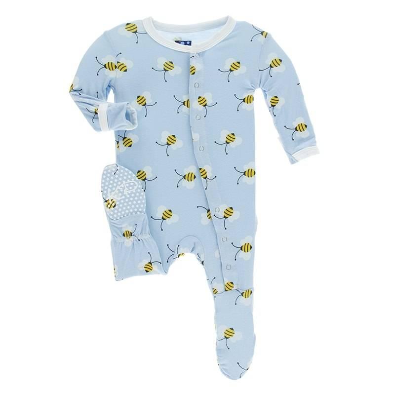 Kickee Pants Snap Footie Pond Bees