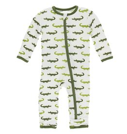 Kickee Pants Zip Coverall Nat. Crocodile