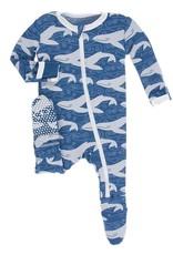 Kickee Pants Zip Footie Twilight Whale