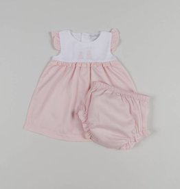 Kissy Kissy Pique Bunny Ears Woven Dress & Diaper Cover