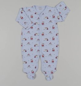 Kissy Kissy Burly Bulldogs Print Footie Light Blue