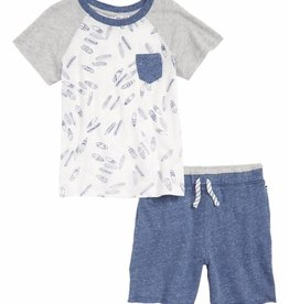 Splendid Surfboard Tee & Short Set Light Gray Heather